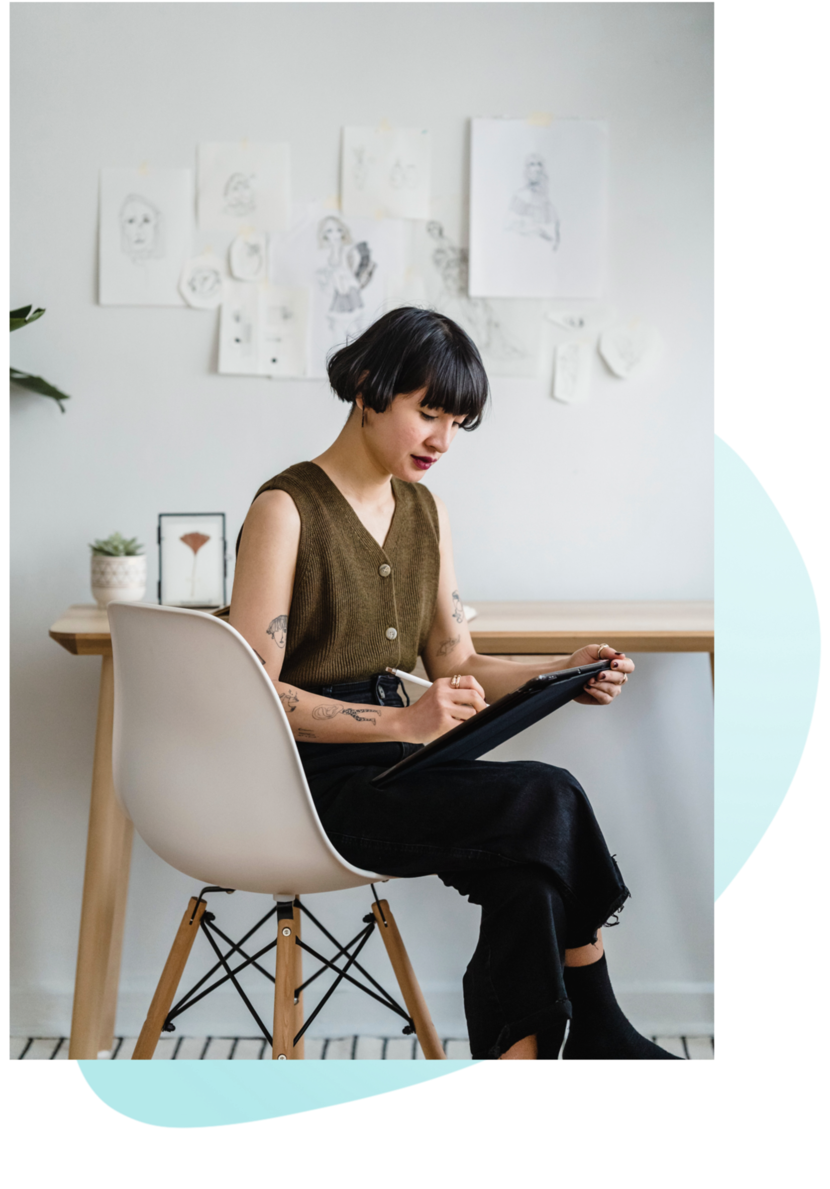 Image of a woman sitting in a chair looking up information on a device. This could represent someone looking for mental health jobs in New York City. Whether searching for psychiatric nurse practitioner jobs, therapist jobs, or psychiatrist jobs in New York City, we are hiring. | 10002 | 10003